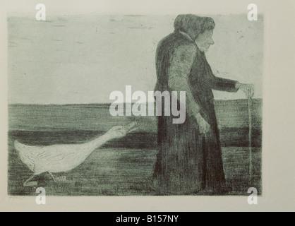 "Belle arti, Modersohn-Becker, Paula (1876 - 1906), grafik, ""Donna con oca"", attacco, aquatinta, 1902, Kunsthalle Foto Stock"