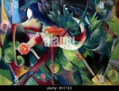 """Belle arti, Marc Franz, (1880 - 1916), pittura, 'Reh im Blumengarten', (""""un cervo nel giardino fiorito""""), 1913, Foto Stock"""