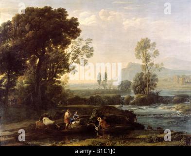 """Belle arti, Lorrain Claude (1600 - 23.11.1682), pittura, 'Paesaggio con riposo nella fuga in Egitto"""", 1647, olio Foto Stock"""