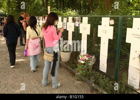 Berlino Germania il memoriale per le vittime del Muro di berlino accanto al Reichstag ricorda quanti morti nel tentativo Foto Stock