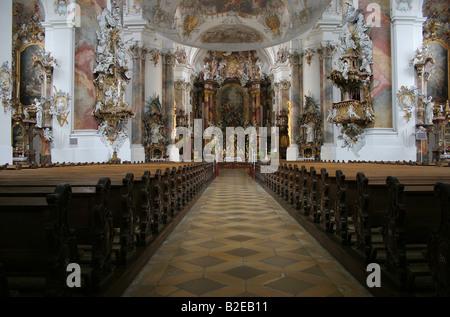 Gli interni di Abbazia, Ottobeuren Abbey, Baviera, Germania