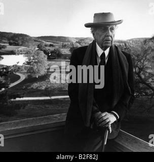 Frank Lloyd Wright, famoso architetto, nella sua casa di Madison, Wisconsin. Foto Stock