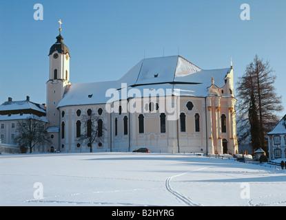 Architettura, chiese e conventi, in Germania, in Baviera, la Chiesa del pellegrinaggio di Wies, costruito 1745  Foto Stock