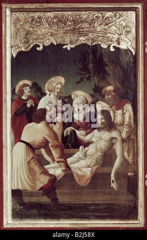 Architettura, chiese e conventi, Germania, Baviera, chiesa di San Servazio Streichen, vista interna, altare maggiore, pittura, Cristo ha storto nella sua tomba, 1524,
