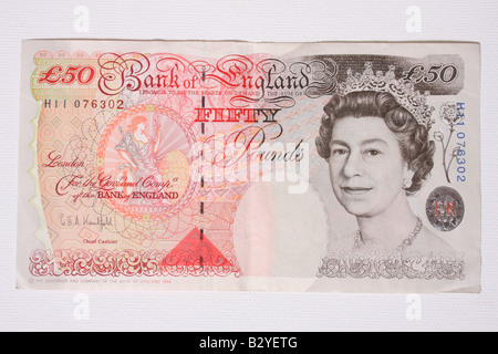 La parte anteriore di una cinquantina di cancelletto banca inglese nota.
