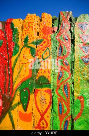 Parete dipinta a colonia di artisti, grande deserto di Thar, vicino a Jaisalmer, Rajasthan, India, subcontinente, Foto Stock