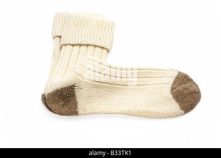 Coppia di off-white calze di lana Foto Stock