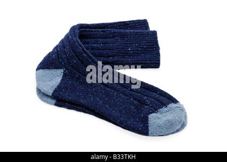 Coppia di blu scuro calze di lana Foto Stock