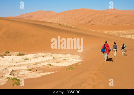 I visitatori di passeggiata tra le dune di sabbia nel Namib Naukluft Park a Sossusvlei in Namibia in Africa Foto Stock