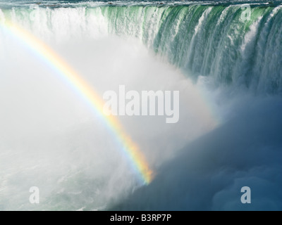 Canada,Ontario,Niagara Falls,Canadian Falls con un arcobaleno Foto Stock