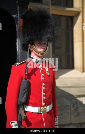 Inghilterra, Londra, Torre di Londra. Una guardia che indossa un tradizionale bearskin sta di guardia al di fuori Foto Stock