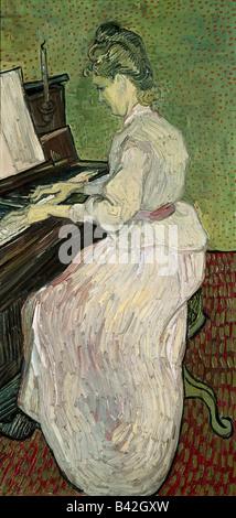 """Belle arti, Gogh, Vincent van (30.3.1853 - 29.7.1890), pittura, 'Marguerite Gachet al pianoforte"""", 1890, olio su tela, Íffent"""