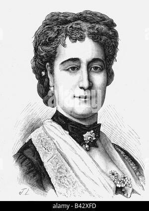 Eugenie, 5.5.1826 - 11.7.1920, Imperatrice consorte di Francia 30.1.1853 - 4.9.1870, ritratto, incisione su legno, Foto Stock