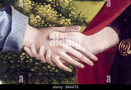 Belle arti, l'arte religiosa, la pittura, la Vergine Maria, la visitazione di Elisabetta, pittura, Master della Visitazione di Freising, dettaglio: le mani, la seconda metà del XV secolo, la Cattedrale di Augsburg, Germania, , artista del diritto d'autore non deve essere cancellata