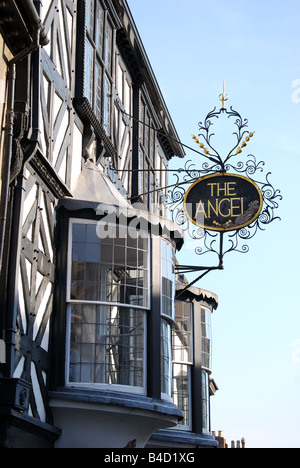 L'Angelo, Tudor House frontage, Broad Street, Ludlow, Shropshire, England, Regno Unito Foto Stock