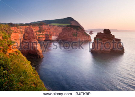 Ladram Bay, vicino a Sidmouth, East Devon, Inghilterra sudoccidentale. Foto Stock
