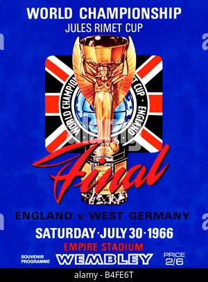 Finale di coppa del mondo programma per l'Inghilterra e Germania Ovest finale a Wembley nel luglio 1966 ha vinto Foto Stock