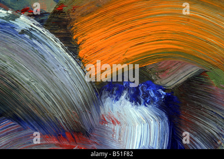 Extreme close-up di pennellate - eseguire colori - Artigianato - pastose rivestimento di colore. Le pitture a tempera. Foto Stock