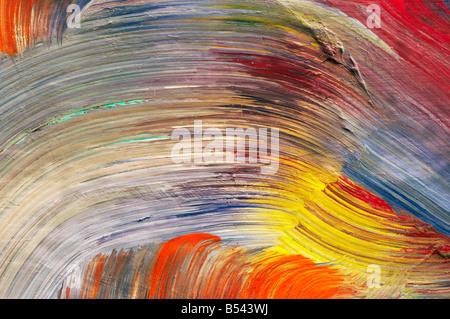 Extreme close-up di delle pennellate - eseguire colori - Artigianato - pastose rivestimento di colore. Le pitture Foto Stock