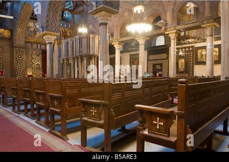 L interno della Chiesa Copta Ortodossa di Santa Barbara nel quartiere copto al Cairo in Egitto Foto Stock