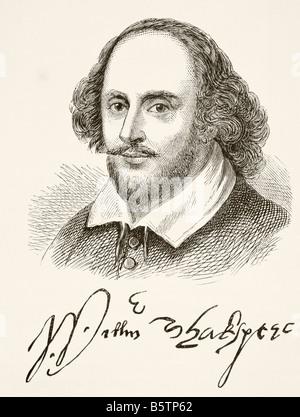 William Shakespeare, 1564 - 1616. Poeta inglese, drammaturgo, drammaturgo e attore. Ritratto e firma Foto Stock