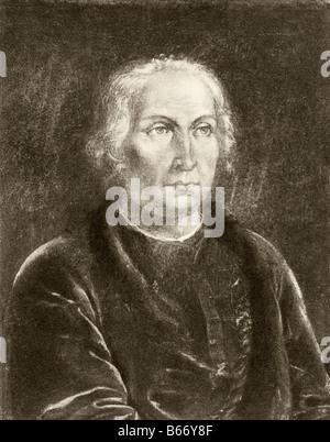 Cristoforo Colombo 1451 1506 italiano spagnolo nato finanziate explorer scopritore di America Foto Stock