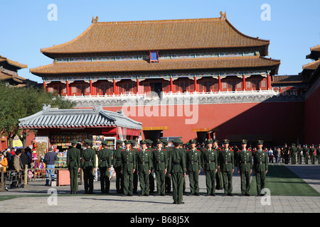 Cina Pechino Città Proibita Meridian Gate le protezioni Foto Stock