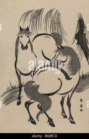Cavalli sotto un salice.