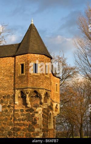 Dettaglio della parete della città, città medievale Zons, Northrhine-Westphalia Foto Stock