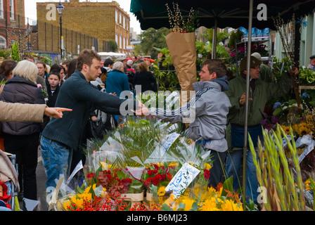 Columbia Road flower market è tenuto la Domenica nella zona est di Londra Inghilterra REGNO UNITO Foto Stock