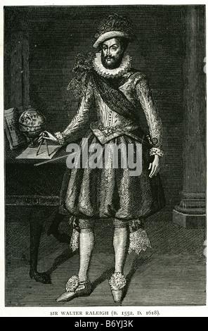 Sir Walter raleigh 1552 1618 scrittore inglese poeta soldato cortigiano explorer Foto Stock