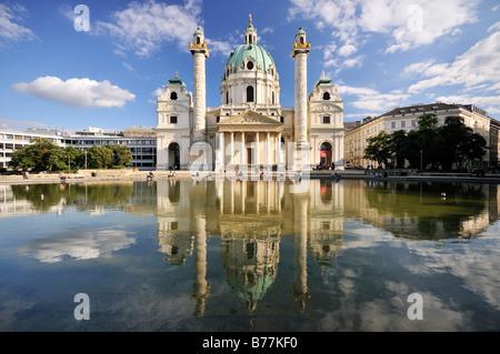 San Carlo, la Chiesa, Karlskirche, Vienna, Austria, Europa Foto Stock