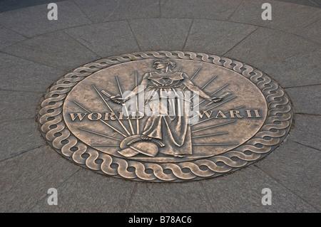 La placca per il National il Memoriale della Seconda Guerra Mondiale, Washington DC, Stati Uniti d'America Foto Stock