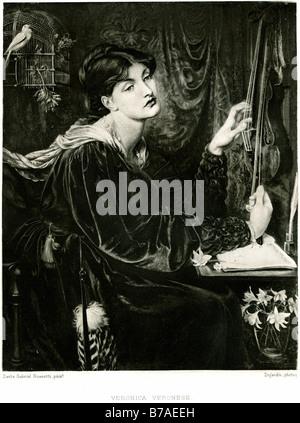Veronica veronese seduto annoiato desk donna lady bird gage dipinti dal British Pre-Raphaelite artista Dante Gabriel Foto Stock