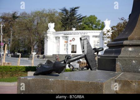 Il dispositivo di ancoraggio sul monumento NAKHIMOV SEBASTOPOLI UCRAINA SEBASTOPOLI CRIMEA UCRAINA 30 Aprile 2008 Foto Stock