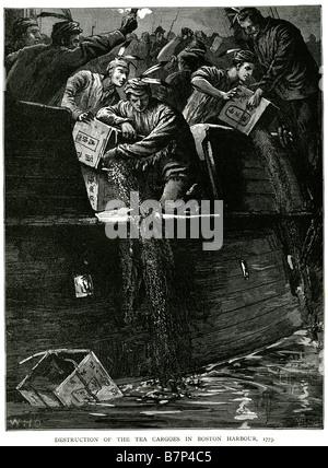 Distruzione di carichi di tè al porto di Boston 1773 barca scambi il Boston Tea Party è stato un atto di azione Foto Stock