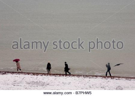 Quattro persone a piedi lungo la spiaggia di Brighton in neve accanto al mare calmo e un corvo Foto Stock