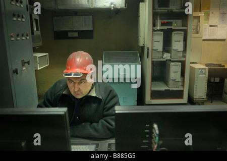 Lavoratori a Donetsk mulino di acciaio in Ucraina orientale Foto Stock