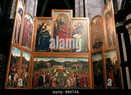 Belgio Fiandre Gand Cattedrale di St Bavo Agnello Mistico Foto Stock