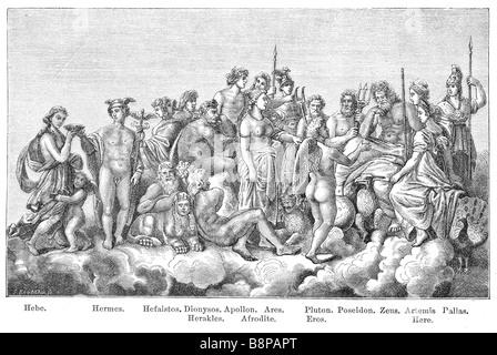 Gli dèi della cultura greca antica. Originariamente pubblicato nel libro svedese Historisk läsebok pubblicato in Foto Stock