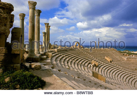 Area archeologica, il teatro di Leptis Magna, Libia, Africa Foto Stock