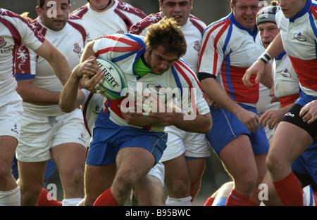 La partita di apertura della prima divisione delle nazioni europee Rugby Cup tra le squadre della Russia in pantaloncini Foto Stock