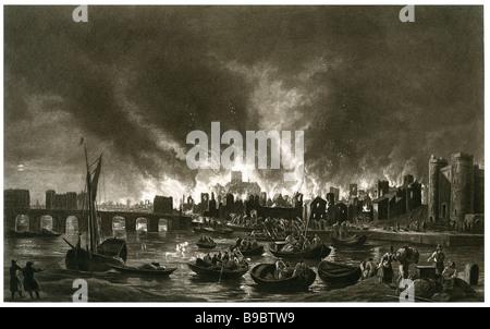 Grande Incendio di Londra Inghilterra 1666 Città medievale Foto Stock