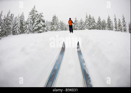 Basso angolo vista di sci di fondo consigli e una giovane donna lo sci nordico su un cross country prova nella neve Foto Stock