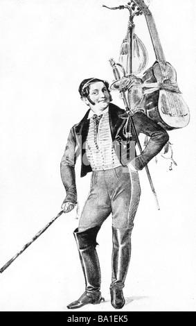 Lortzing, Albert, 23.10.1801 - 21.01.1851, compositore tedesco a lunghezza piena, agendo in 'Der Reisende allievo' Foto Stock