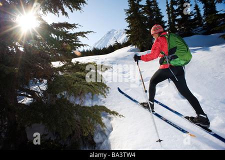 Sciatore femmina tours il centro area di cresta in Turnagain Pass di Chugach National Forest, Alaska Foto Stock
