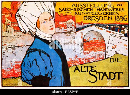 Alte Stadt Dresden 1896 poster per una mostra di anglosassone di arti e mestieri di capitale regionale