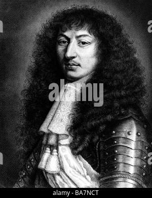 Luigi XIV, 5.9.1638 - 1.9.1715, Re di Francia 1643 - 1715, ritratto, incisione in acciaio di Kuehner, 19th secolo, dopo la pittura di Mignard, 17th secolo, Foto Stock
