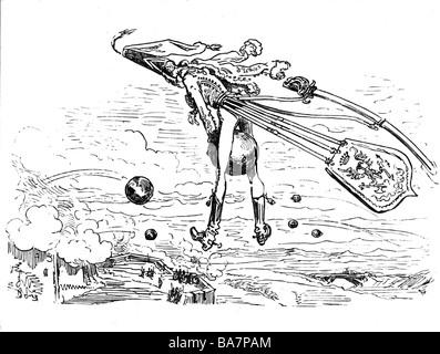 Münchhausen, Barone Karl Friedrich Hieronymus, Freiherr von, 11.5.1720 - 22.2.1797, scena delle sue avventure: Volare sulla palla di cannone, incisione in legno 19th secolo, Foto Stock