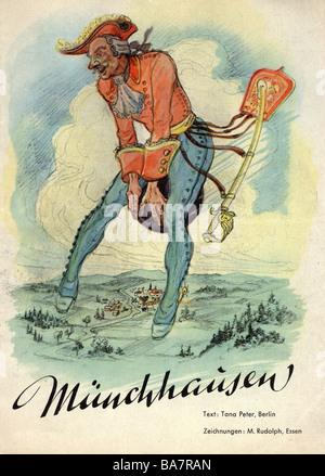 Münchhausen, Baron Karl Friedrich Hieronymus, Freiherr von, 11.5.1720 - 22.2.1797, volando sulla sua palla di cannone, disegno colorato in rivista, testo di Tana Peter, Berlino, disegni di M. Rudolph, Essen,